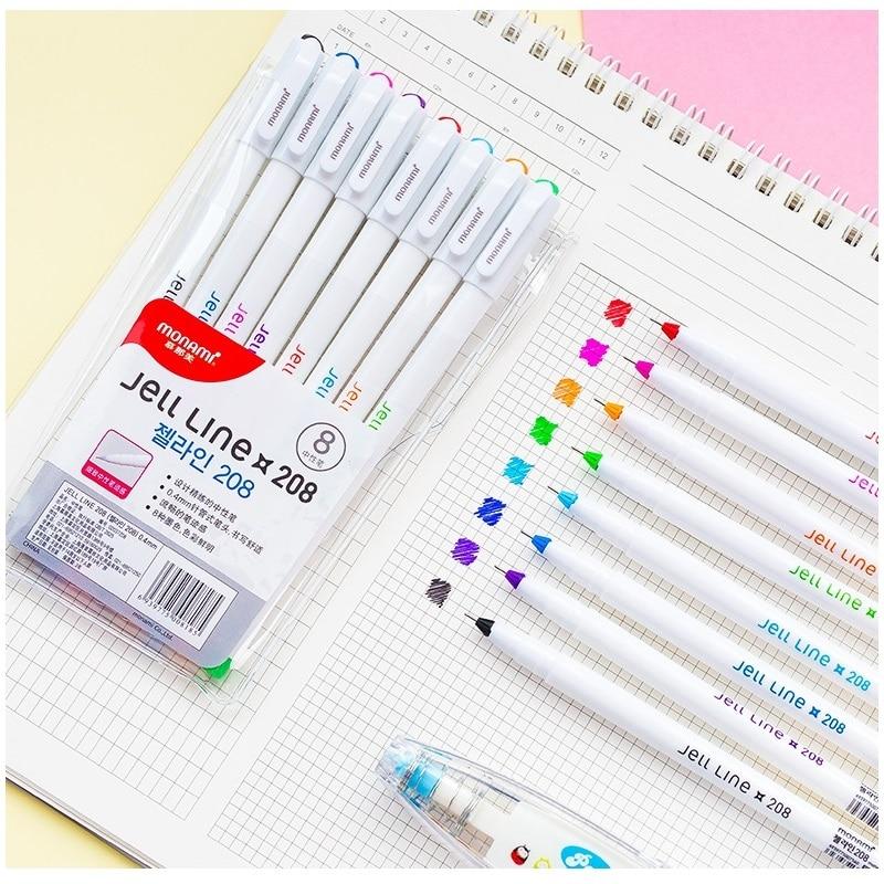 8/12 Color Jell Line Pens Ballpoint 0.4mm Fine Point Gel Ink Pens For Drawing Marker Liner Pen Office School Art Gift A6982
