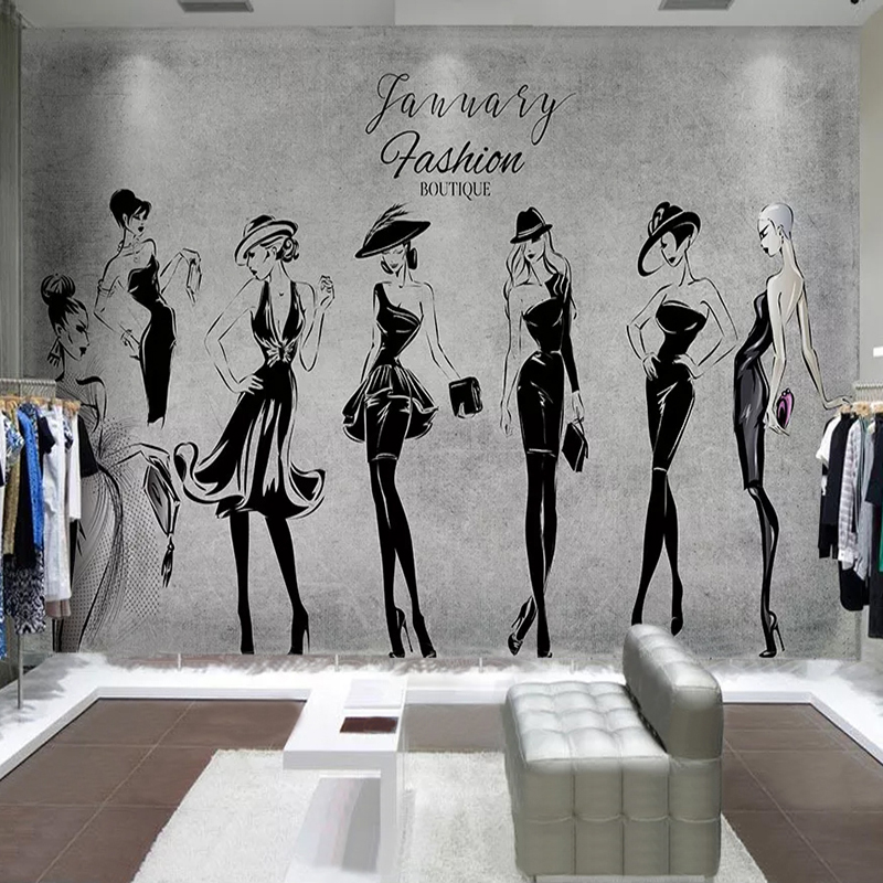 Custom 3D Photo Wallpaper Hand Painted Fashion Beauty Clothing Store Tooling Background Wall Painting Waterproof Wallpaper Mural