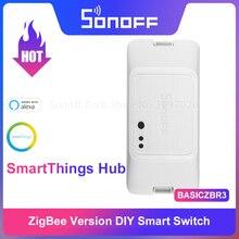 SONOFF BASICZBR3 bricolage intelligent Zigbee interrupteur de lumière MINI Module de relais de synchronisation sans fil commutateur à distance fonctionne avec Alexa SmartThings Hub