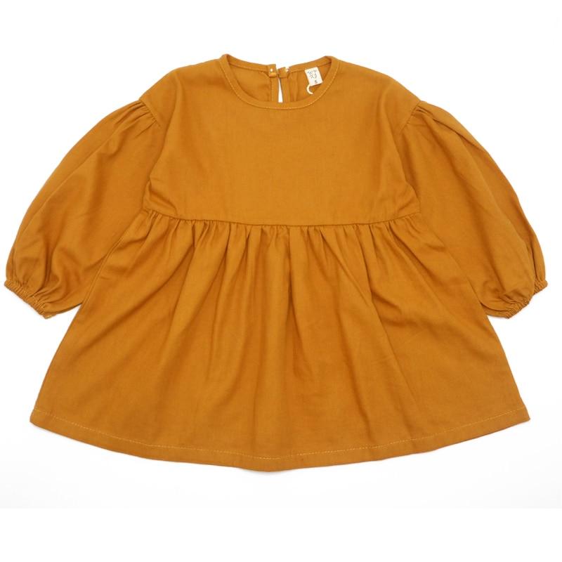Fashion Girls Dress Long Sleeve Children Dress Cotton Linen Kids Dresses for Girls Korean