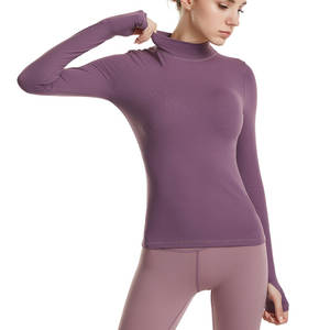 Yoga-Shirts Tight Seamless-Link Long-Sleeve Fitness Training Women's Gym Elastic Solid-Color