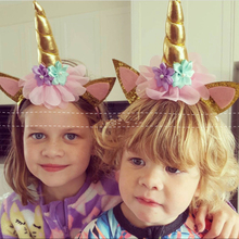1Pc Gold Silver Unicorn Headbank Head Hoop Princess Kid Birthday Hats Headdress Baby Shower Birthday