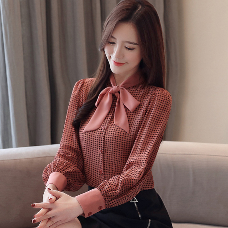 womens tops and blouses long sleeve women shirts fashion bow collor office blouse women plaid chiffon shirt female top Plus size 2