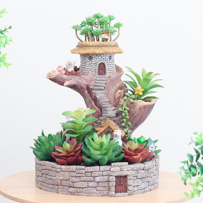 Kreative Kindheit Kaninchen Cartoon Baum Haus Harz Blumentopf Micro Landschaft Zubehör Blumentöpfe Pflanzer Ornamente
