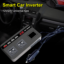 200W Car Power Inverter 12/24V DC to 220V AC Voltage Converter with Digital Display 4USB QC3.0 Fast Charging for Phones Stablets