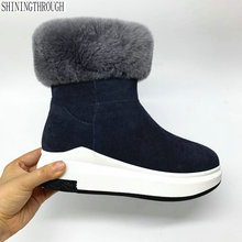 Snow-Boots Genuine-Leather Shoes Black Platform Winter Big-Size Women Flat Ankle Fur