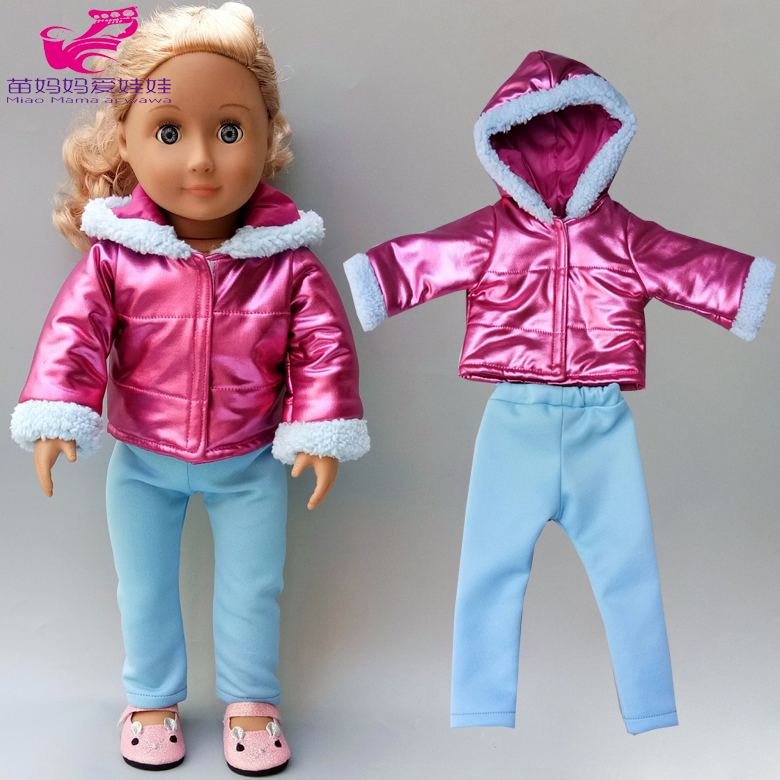 Baby New Born Doll Clothes Fur Coat Tousers 18 Inch American Generation Girl Doll Clothes Winter Suit Pants