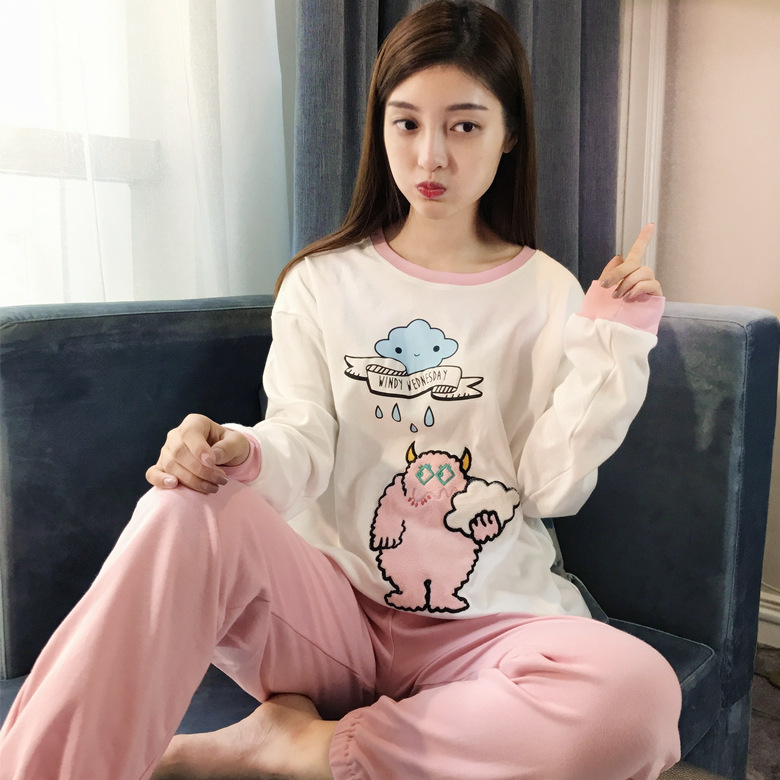 Autumn Pajamas Women Long Sleeve Small Magic Man Set 6535 Knitted Cotton 180 Grams M-XXL (18 Yuan) Home-feeding Original