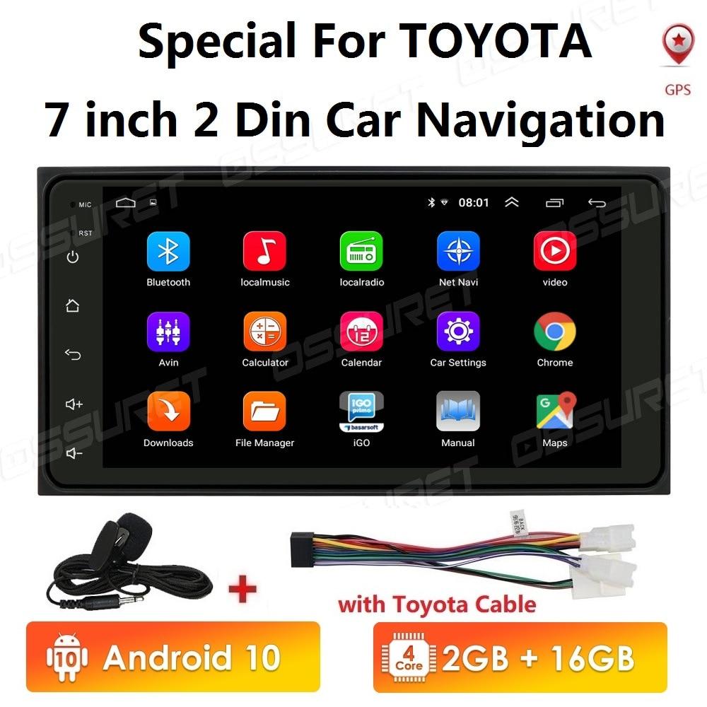 Android 10 7'' 2GB RAM 16GB ROM 2 DIN Car DVD GPS for Toyota Terios Old Corolla Camry Prado RAV4 Universal radio wifi BT SWC(China)