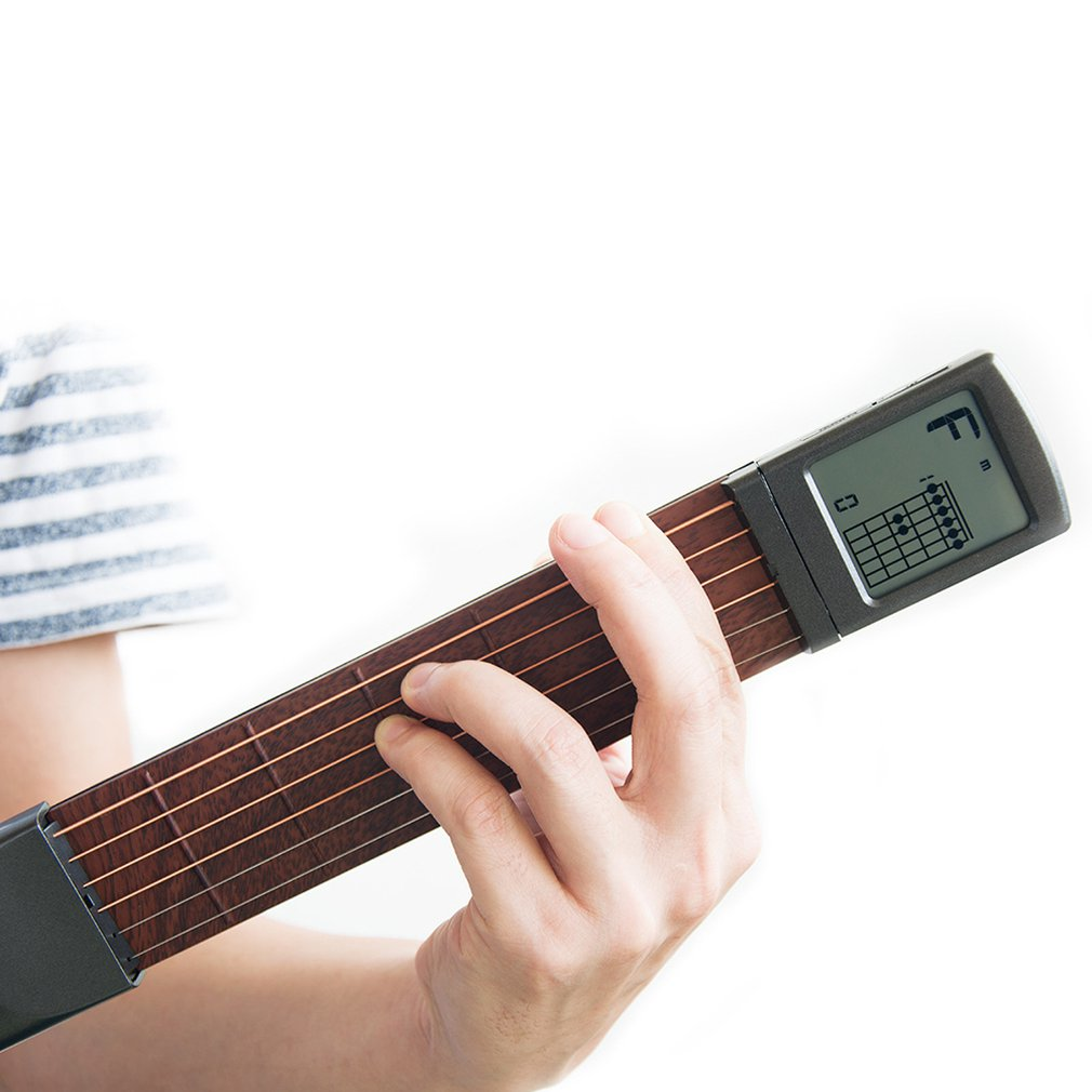 Pocket Guitar Wood+Plastic Portable With Screen Display Finger Exerciser Train Practice Tool For Beginners