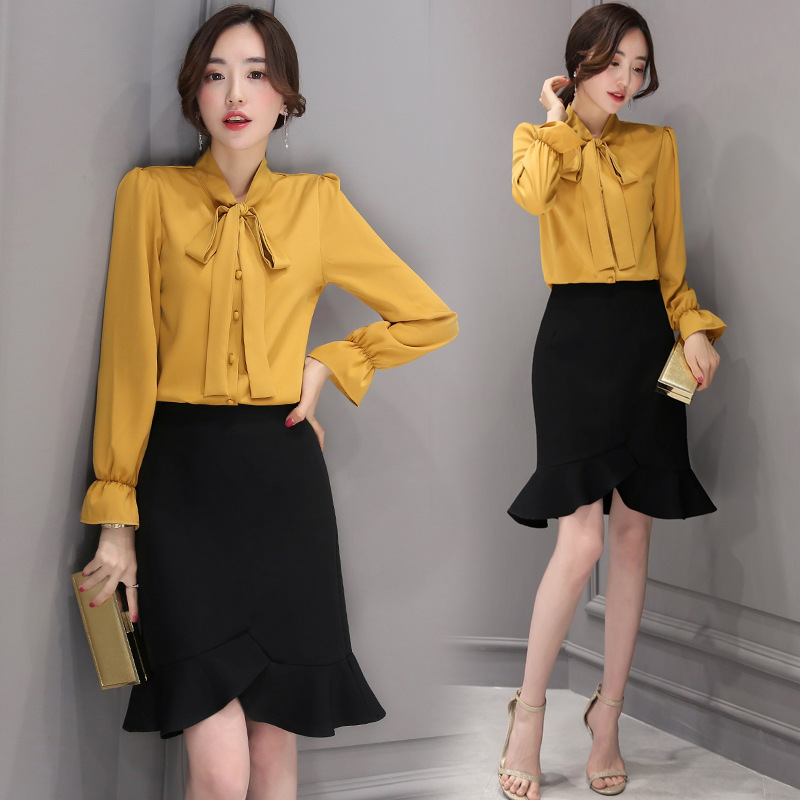 2018 Spring Clothing New Style Korean-style Top Grade Bow Shirt + Flounced Short Skirt Two-Piece Set