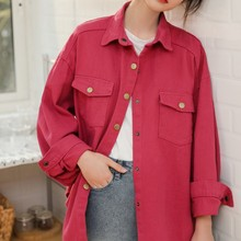 Spring Autumn Casual Female Jacket Korean Loose Womens Denim Vintage Red Coat Single-breasted Jeans Women