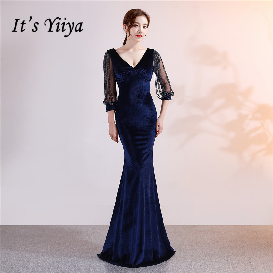 Mermaid Formal Dress DX304 It's Yiiya Velour Floor-Length V-Neck Evening Dresses For Women Plus Size Pleat Robe De Soiree