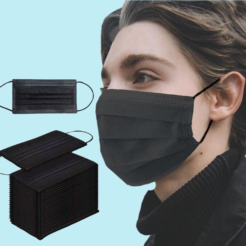 10-200 pces máscara descartável da boca do médico anti poeira máscara protetora preta 3 dobras não tecida respiração adulto máscara facial filtro máscara cirúrgica