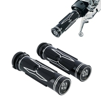 Motorcycle 1'' CNC Handle bar Electric Hand Grips Fit For Harley 08 up Touring 16 17 Dyna