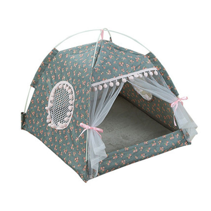 2019 Portable Foldable Pet Dog Tent House Breathable Print Pet Cat House with Net Outdoor Indoor Mesh Cat Small Dog Tent House soccer-specific stadium