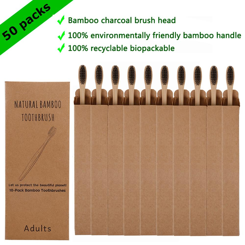 50 Pack Natural Bamboo Toothbrush Wood Toothbrushes Soft Bristles Capitellum Fiber Teeth Brush Eco-Friendly Oral Care Wholesale