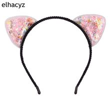 6pcs/lot New 2.5 Love Stars Shells Transparent Quicksand Mickey Cat Ears Black 5' Hairband For Kids Party Hair Accessories