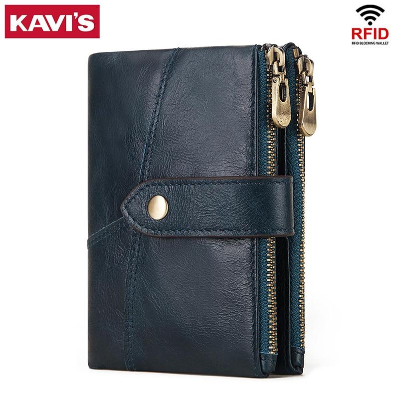 KAVIS Rfid Genuine Leather Wallet Men Coin Purse PORTFOLIO Male Portomonee Money Bag Small Card Holder Blue Color Fashion