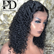 Wig Short Bob Human-Hair Lace-Front Deep-Wave Jerry Curly Pre-Plucked Glueless Black Women