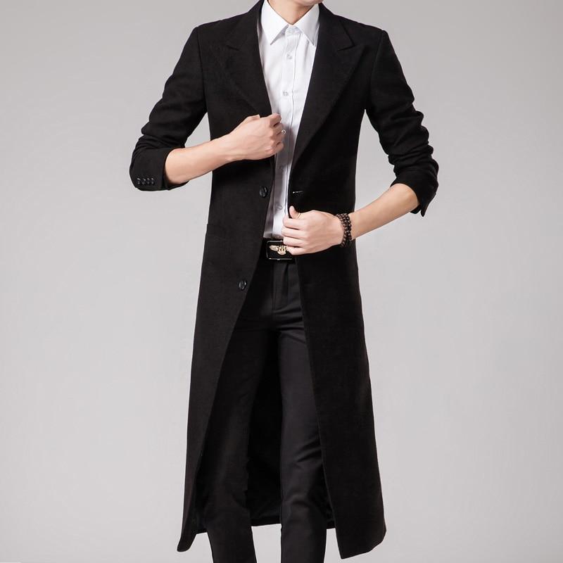 Men's Jacket Warm Winter Windbreaker Long Jacket Button Coat Men 2019 Fashion Casual Windbreaker Jackets Wool Coat Blend