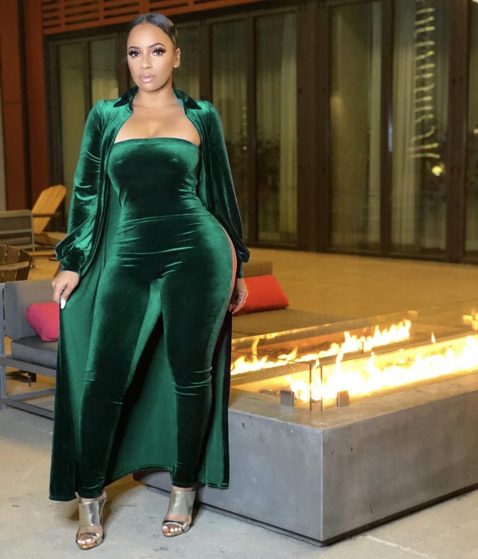 Felyn 2020 лучшее качество известный бренд 2 шт. бархатный женский комплект однотонная верхняя одежда X-Long и комбинезоны без бретелек