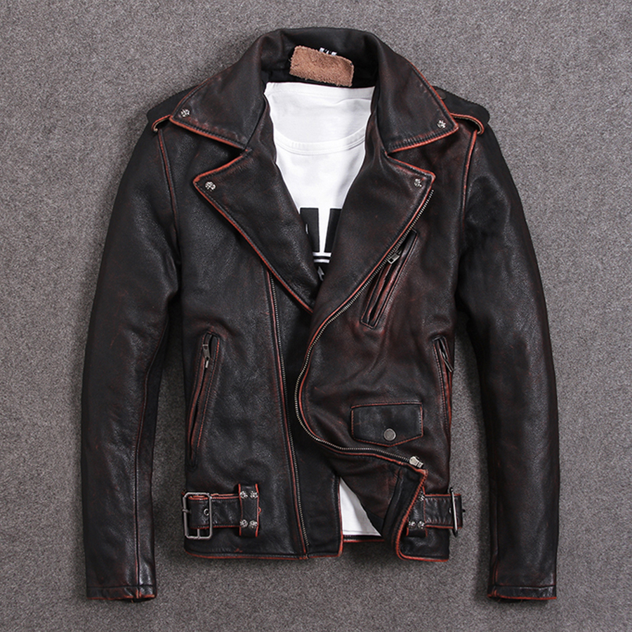 Vintage Motorcycle Jacket Men Genuine Leather Jackets 100% Cowhide Leather Coat Winter Biker Jacket Moto Clothing  M456