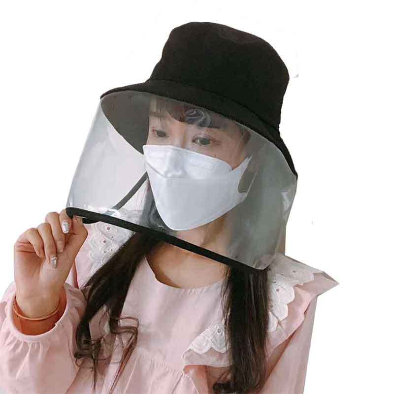 Winfox  New Bucket Hats Fishing Caps Women Men Anti-spitting Powder Wind Saliva Block Protective Mask Protective Hat