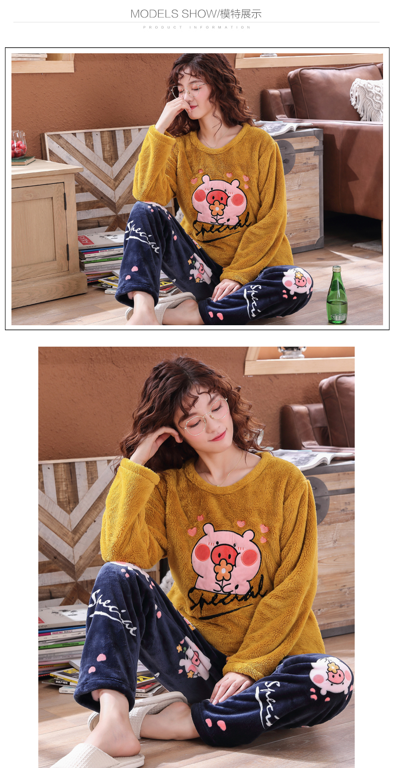 Long Sleeve Warm Flannel Pajamas Winter Women Pajama Sets Print Thicken Sleepwear Pyjamas Plus Size 3XL 4XL 5XL 85kg Nightwear 393