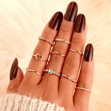 Bohemian Vintage Gold Crescent Geometric Joint Midi Ring Set For 2020 Women Fashion Crystal Finger Ring Jewelry Party Gifts(China)