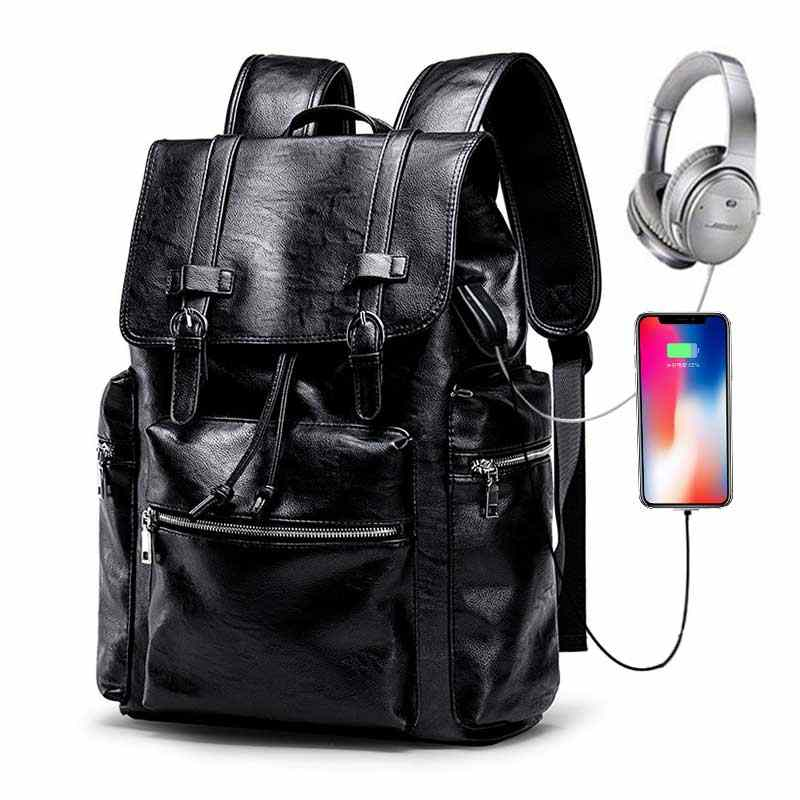 "Men Backpack Bag for 15.6"" Laptop PU Leather Travel USB Charge Backpacks Male Business Casual Bag Waterproof Large Backpack"