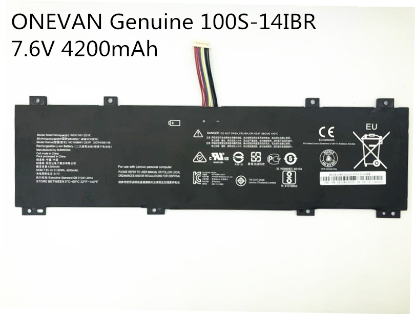 ONEVAN Genuine NC140BW1-2S1P Battery For Lenovo IdeaPad 100S 0813002 80R9 100S-14IBR 100S-141BR 7.6V 4200mAh Free Shipping