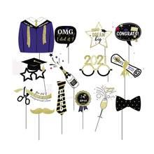 Caseta de fotos de graduación, accesorios, decoraciones para fiesta de graduación, pancarta de felicitación, globos de graduación, clase de 2021, 2021