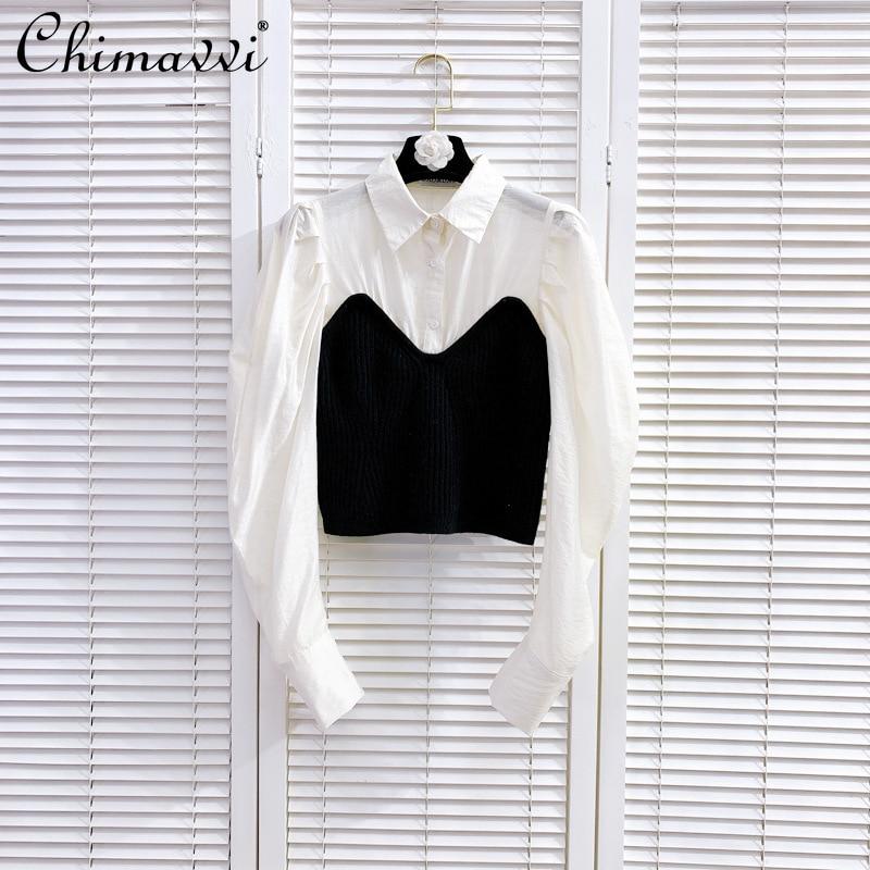 2021 Spring Female Retro Black Tube Top White Shirt Patchwork Blouse Long Sleeve Women Fashion Fake Two Piece Blouse