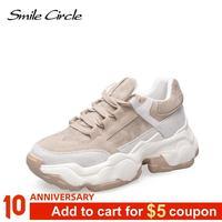 Sourire Circle femmes baskets respirant chaussures 2019 printemps nouveau plat plate-forme chaussures fille fond épais extérieur dames chaussures