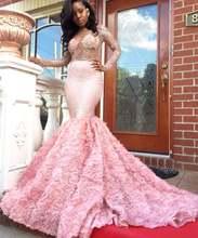 Блестящие Розовые Длинные Выпускные платья 2020 с длинным рукавом