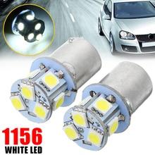 цена на Car Light Source 2pcs 12V 8SMD LED Car Tail Turn Signal Light BA15S R5W 1156 5050 LED Corner Stop Brake Lamp Bulb Super White