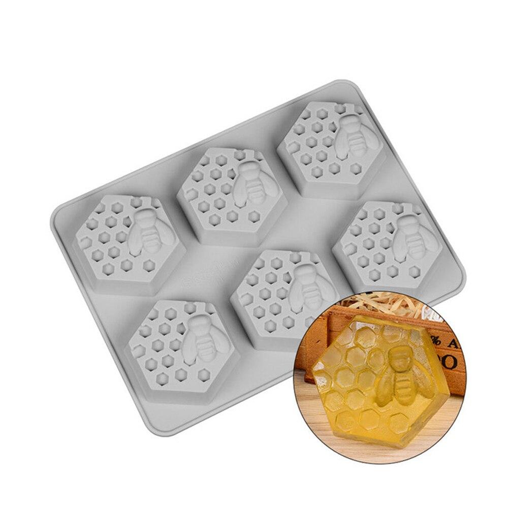 DIY мыльница силиконовая форма 3D Мыло с изображением пчелы 6 полости легко снести ручной работы мыло ремесло