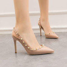 woman Summer Women's shoes fashion female sandals rivet Metal decoration pu leather women high heels(China)
