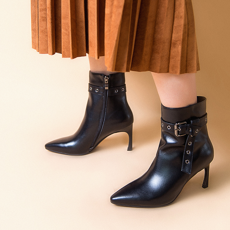 2019 Black Leather Women Buckle Zip up Thin Heel Ankle Boots Size 33 43 88 311 in Ankle Boots from Shoes