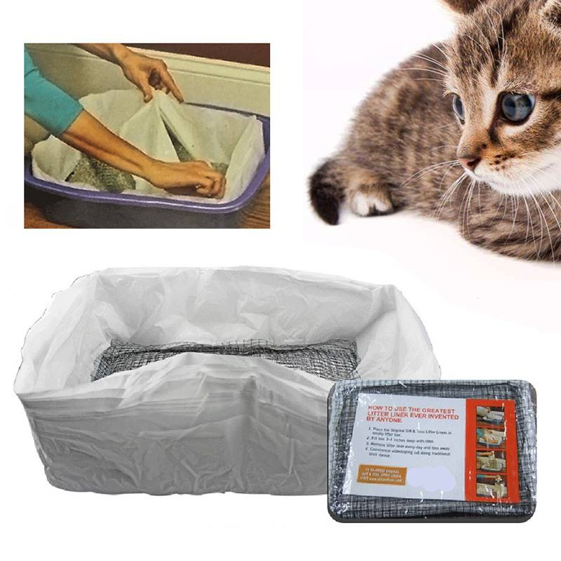 10pcs Reusable Cat Feces Filter Hands Free Pet Cat Excrement Liners Elastic Cat Sand Bag Filter Pet Hygienic Litter Box Liners