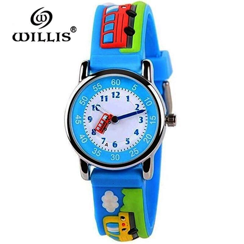 WILLIS Fashion Quartz Children Watch Diversity Cartoon Buses 3D Waterproof Watches Bright Color Stylish Jelly Clock Wristwatches