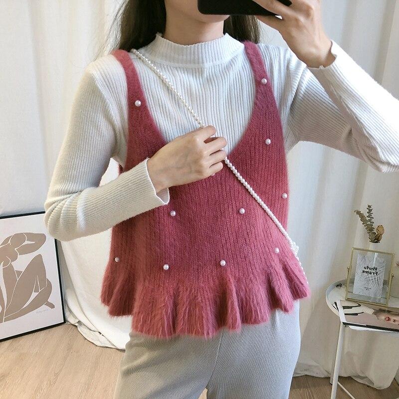 Women Autumn Sleeveles Strap Knitted Pearl Bead Basic Vest Shirt Elegant Lady Strapless Short Slim Pullover Ruffles Blouse Tops