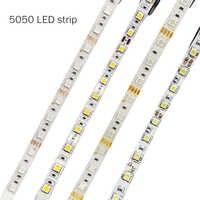 5050 LED bande DC 12V pas étanche/étanche 60 LED/m RGB/blanc/blanc chaud bandes de lumière LED flexibles 5 M/lot