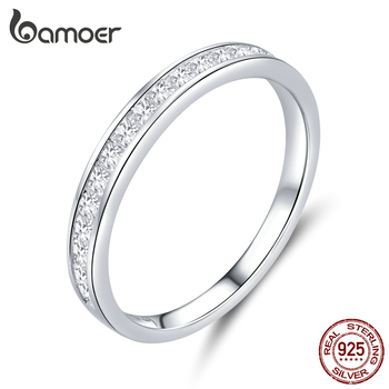 Bamoer Genuine 925 Sterling Silver AAA Zirconia Finger Rings For Women Wedding Band Engagement Statement Jewelry Anel BSR113