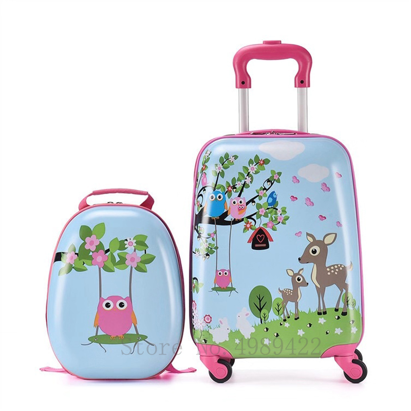 18''travel suitcase set carry on trolley luggage bag Cabin suitcase on wheels children's Cute Cartton trolley bag gift 20 inch