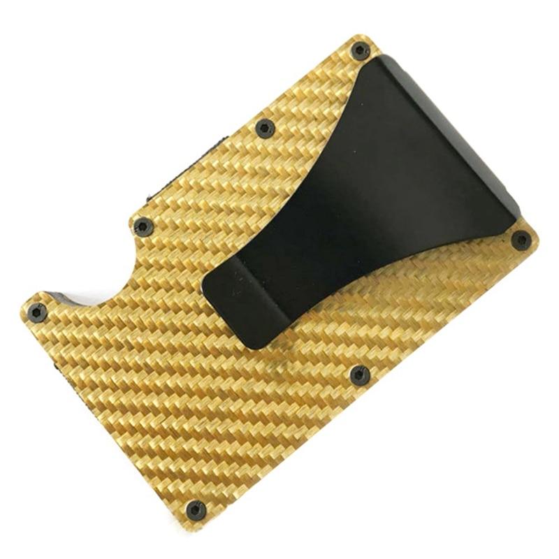Новая мода Тонкий карбоновый держатель для кредитных карт RFID несканирующий металлический кошелек мужской Прямая - Цвет: GD