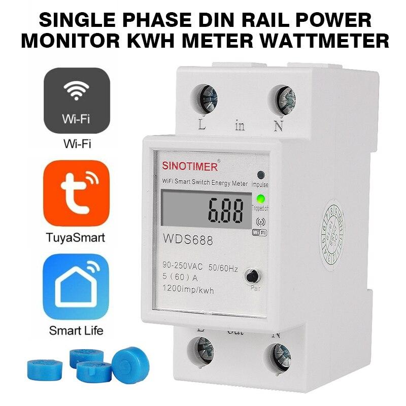 PINTUDY compteurs d'énergie WIFI compteur d'énergie intelligent monophasé Din Rail moniteur d'alimentation kWh mètre wattmètre Instruments électriques