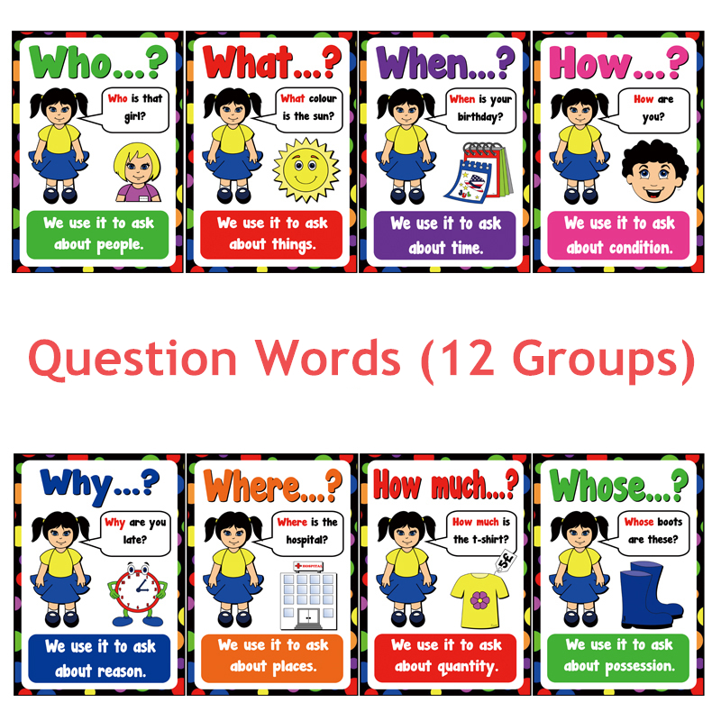 12 Groups/set Question Words English Flash Card Children Education Cognition Card Learning Toys For Children Games Montessori