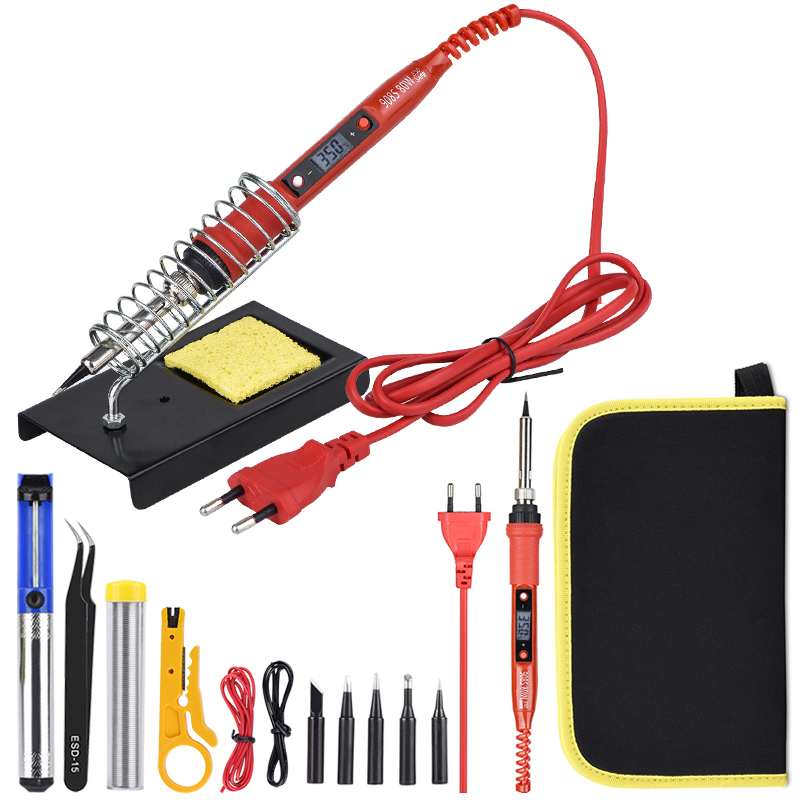JCD 80W Soldering Iron Kit 220V 110V Ceramic Heating Element LCD Adjustable Temperature Welding Solder Iron With Soldering Tips